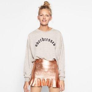 Zara Rose Gold Metallic ruffle mini skirt